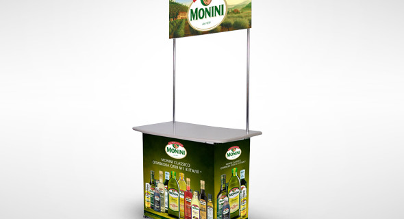 Изготовление рекламной стойки Monini