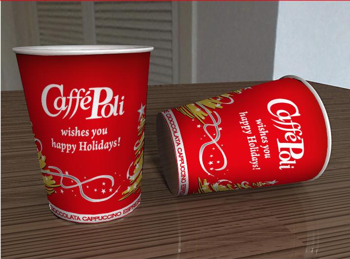 Печать бумажных стаканов для торговой марки кофе Сaffe Poli